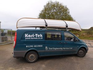 Roof rack with small sailing boat loaded