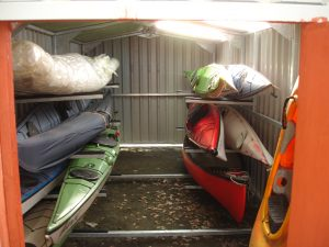 Shed equipped with Sea Kayak Storage Racking