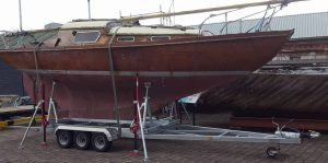 Keel boat trailer ready for the road