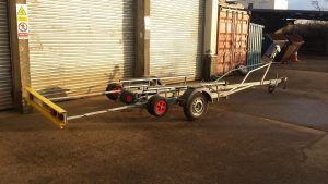 Combi skiff trailer with light board fully extended