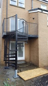Bespoke spiral staircase & balcony - galvanised & powder coated before erecting