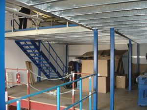 Mezzanine floor - erected and sheeted with timber.