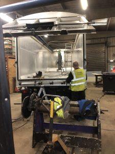 Repair to aluminium tipper trailer body. Maintenance.