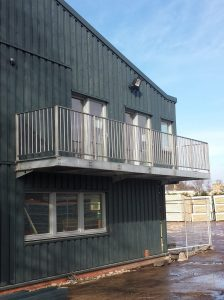 Office balcony with high Stainless steel balustrade